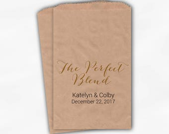 The Perfect Blend Favor Bags - Black & Gold Personalized Wedding Favor Bags For Coffee with Names and Date - Custom Kraft Paper Bags (0205)
