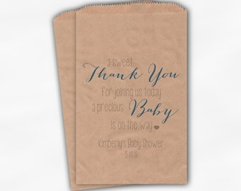 Sweet Thank You Baby Shower Candy Buffet Treat Bags - Baby Boy Blue and Gray Personalized Favor Bags - Set of 25 Kraft Paper Bags