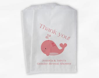 Whale Baby Shower Favor Bags - It's A Girl Custom Treat Bags for Baby Shower Antique Pink Coral - 25 Paper Bags (0019)