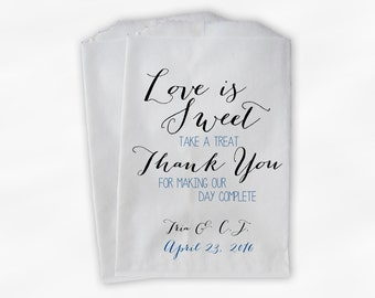 Love Is Sweet Our Day Complete Wedding Candy Buffet Treat Bags - Handwritten Favor Bags in Royal Blue - Custom Paper Bags (0169)