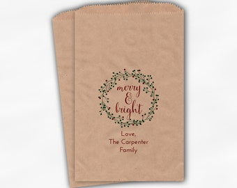 Merry and Bright Holiday Treat Bags - Wreath Custom Christmas Gift Bags in Red and Green - 25 Kraft Paper Bags