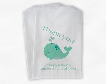 Whale Baby Shower Favor Bags - Gender Reveal Custom Treat Bags for Baby Shower in Mint Green - 25 Paper Bags (0019)