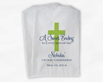 First Communion Favor Bags - Baptism or Religious Party Custom Favor Bags - Set of 25 Lime and Navy Paper Treat Bags (0073)