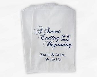 Wedding Favor Bags for Candy Buffet in Navy Blue - A Sweet Ending to a New Beginning Favor Bags for Wedding - Paper Treat Bags (0053)