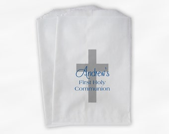 First Communion Favor Bags with Cross - Personalized Baptism or Religious Party Custom Favor Bags - Set of 25 Blue and Gray Paper Treat Bags