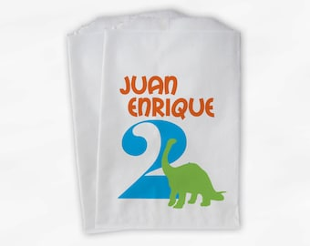 Dinosaur Birthday Party Candy Favor Bags with Age - Orange Turquoise and Lime Boys Custom Treat Bags for Kids - 25 Paper Bags (0046)