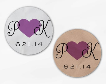 Initials and Heart Wedding Favor Stickers - Lilac Custom Candy Buffet White, Kraft Round Labels for Bag Seals, Envelopes (2021)