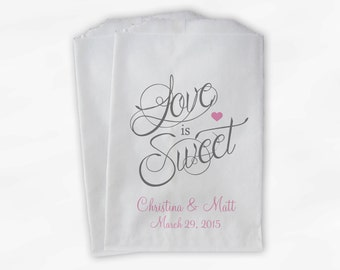 Love Is Sweet Calligraphy Wedding Candy Buffet Treat Bags - Personalized Favor Bags in Pink and Dark Gray - Custom Paper Bags (0122)