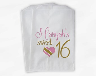 Sweet 16 Birthday Personalized Candy Buffet Bags - Pink and Gold Heart Custom Favor Bags - 25 Paper Treat Bags (0081)