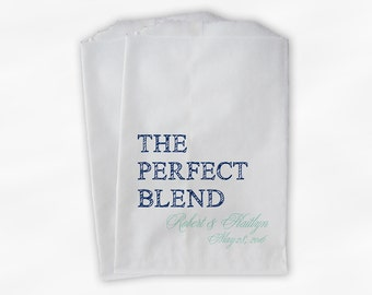 The Perfect Blend Coffee Favor Bags - Navy Blue and Mint Personalized Wedding Favor Bags with Names and Date - Custom Paper Bags (0219)