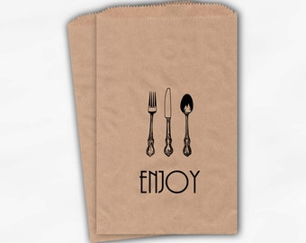Enjoy Silverware Kraft Paper Candy Buffet Bags in Black - Personalized Fork Knife Spoon Favor Bags - Paper Treat Bags (0161)