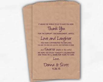 Thank You Favor Bags Personalized in Dark Purple - Candy Buffet Bags with Personalized Message - Custom Kraft Paper Bags (0050)