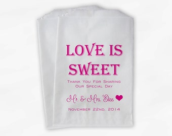 Love Is Sweet Mr and Mrs Wedding Candy Buffet Treat Bags - Personalized Favor Bags in Hot Pink - Custom Paper Bags (0069)