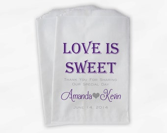 Love Is Sweet Wedding Candy Buffet Treat Bags - Personalized Favor Bags in Purple and Gray - Custom Paper Bags (0069)