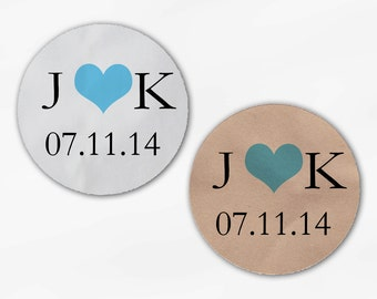 Initials and Heart Wedding Favor Stickers - Aqua and Black Custom White Or Kraft Round Labels for Bag Seals, Envelopes, Mason Jars (2004)