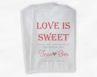 Love Is Sweet Wedding Candy Buffet Treat Bags - Personalized Favor Bags in Rose Pink and Gray - Custom Paper Bags (0069-6)