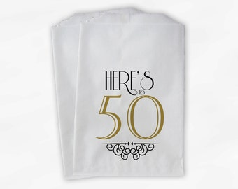 50th Birthday Personalized Candy Buffet Bags - Vintage Here's to 50 Custom Favor Bags in Black and Gold - 25 Paper Treat Bags (0118)