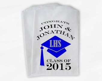 2019 Graduation Cap Personalized Candy Buffet Bags - Blue & Silver High School Grad Favor Bags in School Colors - Set of 25 Bags