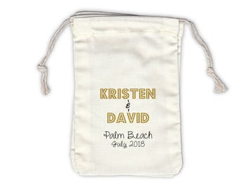 Personalized Marquee Wedding Favor Bags in Gold and Black with Names and Destination - Ivory Fabric Drawstring Bags - Set of 12 (1053)