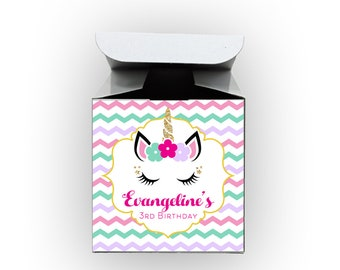 Unicorn Chevron Birthday Party Favor Boxes - Set of 12 Personalized Treat Containers with Stickers for Party Favors - White Tuck Top Boxes
