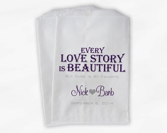 Every Love Story Is Beautiful Wedding Candy Buffet Treat Bags - Personalized Favor Bags in Dark Purple and Gray - Custom Paper Bags (0070)