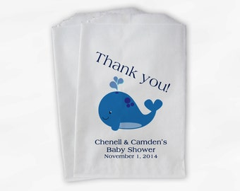Blue Whale Baby Shower Favor Bags - Personalized Custom Treat Bags for Baby Shower - 25 Paper Bags (0019)