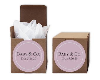 Baby Shower Favor Boxes in Pink - Baby & Co. Set of 12 Personalized Treat Containers with Round Stickers for Favors, Gifts - Kraft Boxes