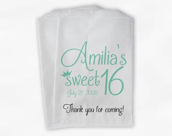 Sweet 16 Birthday Personalized Candy Buffet Bags - Mint Green Thank You Custom Favor Bags with Crown - 25 Paper Treat Bags (0081)