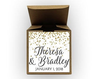 Glitter Confetti Wedding Favor Boxes - Set of 12 Personalized Treat Containers with Stickers for Party Favors, Gifts - Kraft Tuck Top Boxes