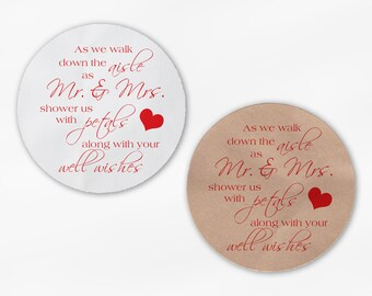 Shower the Mr and Mrs Wedding Favor Petal Toss Stickers - Red Custom White Or Kraft Round Labels for Bag Seals, Envelopes (2032)