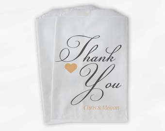 Thank You Calligraphy Candy Treat Bags, Peach and Dark Gray - Custom Heart Favor Bags for Wedding, Birthday, Shower - Paper Bags (0125)