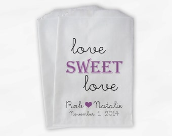 Love Sweet Love Wedding Candy Buffet Treat Bags - Personalized Favor Bags in Black and Lilac Purple - Custom Paper Bags (0049)