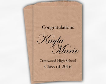 2018 Graduation Candy Buffet Bags - Personalized Black High School Grad Party Custom Favor Bags - 25 Kraft Paper Treat Bags (0190)
