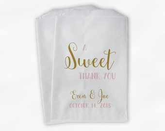 A Sweet Thank You Wedding Candy Buffet Treat Bags - Gold and Blush Personalized Favor Bags - Set of 25 Paper Bags