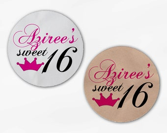 Sweet 16 Birthday Party Favor Stickers -Hot Pink with Crown Custom White Or Kraft Round Labels for Bag Seals, Envelopes, Mason Jars (2035)