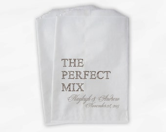 The Perfect Mix Candy Buffet Treat Bags - Beige Personalized Wedding Favor Bags with Names and Date - Custom Paper Bags (0178)