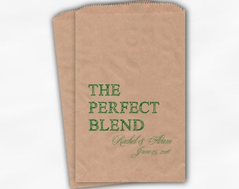 The Perfect Blend Coffee Favor Bags - Green Personalized Wedding Favor Bags with Names and Date - Custom Kraft Paper Bags (0219)