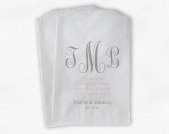 Monogrammed Candy Buffet Bags - A Sweet End Custom Favor Bags Pink and Gray Personalized Couple's Initials - Paper Treat Bags (0037)