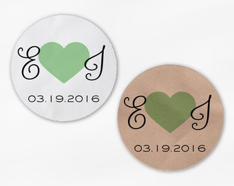 Initials and Heart Wedding Favor Stickers - Light Green Custom Candy Buffet White, Kraft Round Labels for Bag Seals, Envelopes (2021)