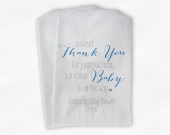 Sweet Thank You Baby Shower Candy Buffet Treat Bags - Baby Boy Blue and Gray Personalized Favor Bags - Set of 25 Bags
