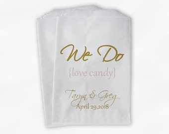 We Do Love Candy Buffet Bags - Custom Favor Bags for Wedding, Birthday, Shower - Gold and Blush Pink Paper Treat Bags