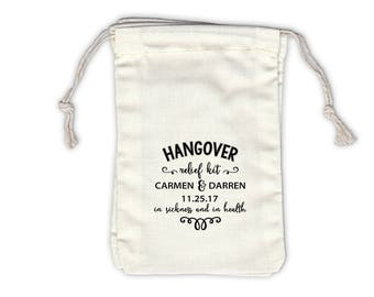 Hangover Relief Kit Personalized Cotton Bags for Wedding or Party Favors - Ivory Fabric Drawstring Bags - Set of 12 (1044)