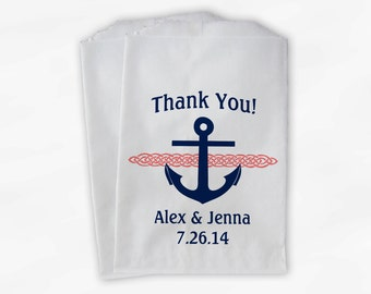 Nautical Anchor Wedding Favor Bags - Personalized Navy Blue and Coral Custom Treat Bags for Candy Buffet - Paper Bags (0047)