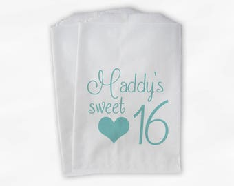 Sweet 16 Birthday Personalized Candy Buffet Bags -Robin's Egg Blue Heart Custom Favor Bags - 25 Paper Treat Bags (0081)