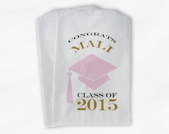 2019 Graduation Cap Personalized Candy Buffet Bags - Set of 25 Pink & Gold High School Grad Party Custom Favor Bags in School Colors