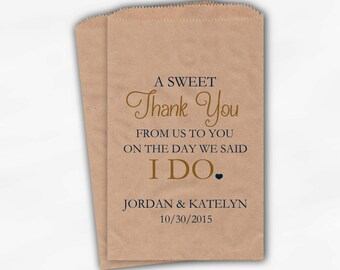 Wedding Candy Buffet Treat Bags - A Sweet Thank You Navy and Gold Personalized Kraft Favor Bags with Bride and Groom's Names and Date (0085)