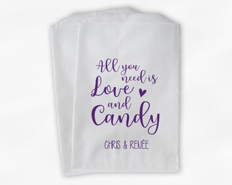 All You Need Is Love and Candy Wedding Candy Buffet Treat Bags - Personalized Paper Favor Bags in Purple - Set of 25 Bags