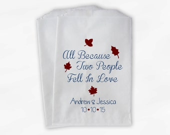 Two People Fell In Love Wedding Candy Buffet Treat Bags - Navy and Maroon Fall Leaves Personalized Favor Bags (0105)