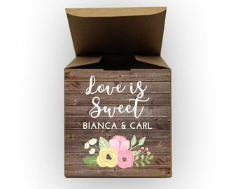 Love Is Sweet Wedding Favor Boxes - Wood and Flowers Set of 12 Personalized Treat Containers with Stickers for Favors, Gifts - Kraft Boxes