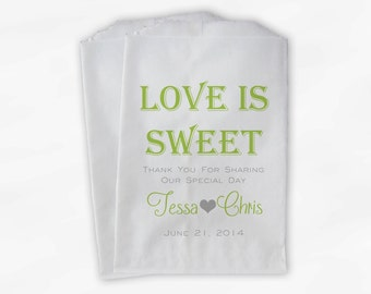 Love Is Sweet Wedding Candy Buffet Treat Bags - Personalized Favor Bags in Lime Green and Gray - Custom Paper Bags (0069-7)